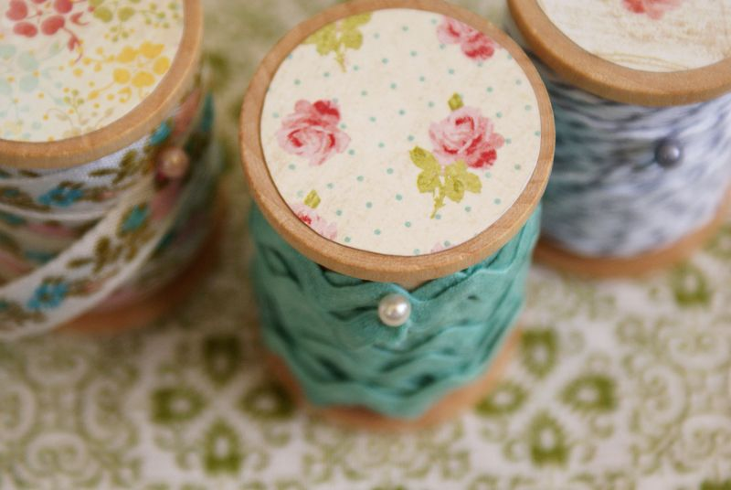 pretty wooden spools with trim