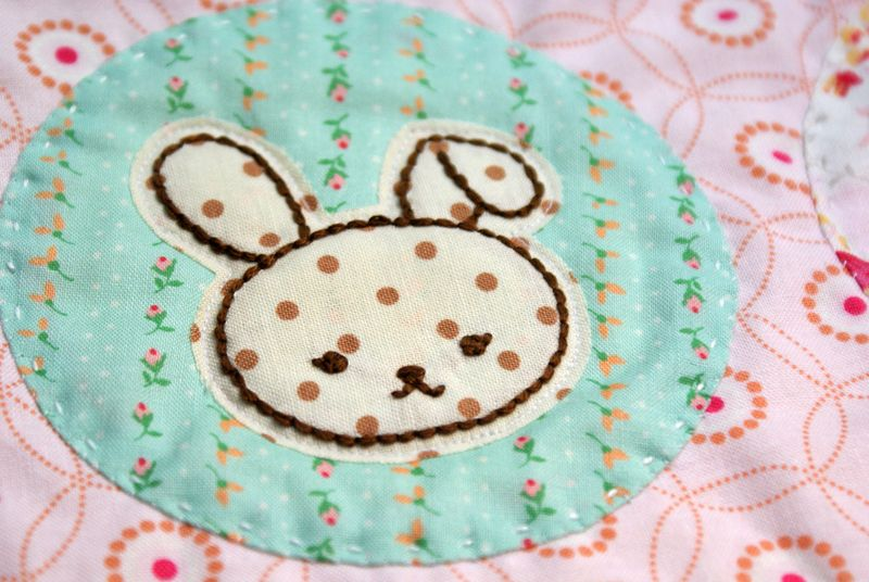 embroidered bunny on a handmade baby quilt, by nanaCompany, B004p