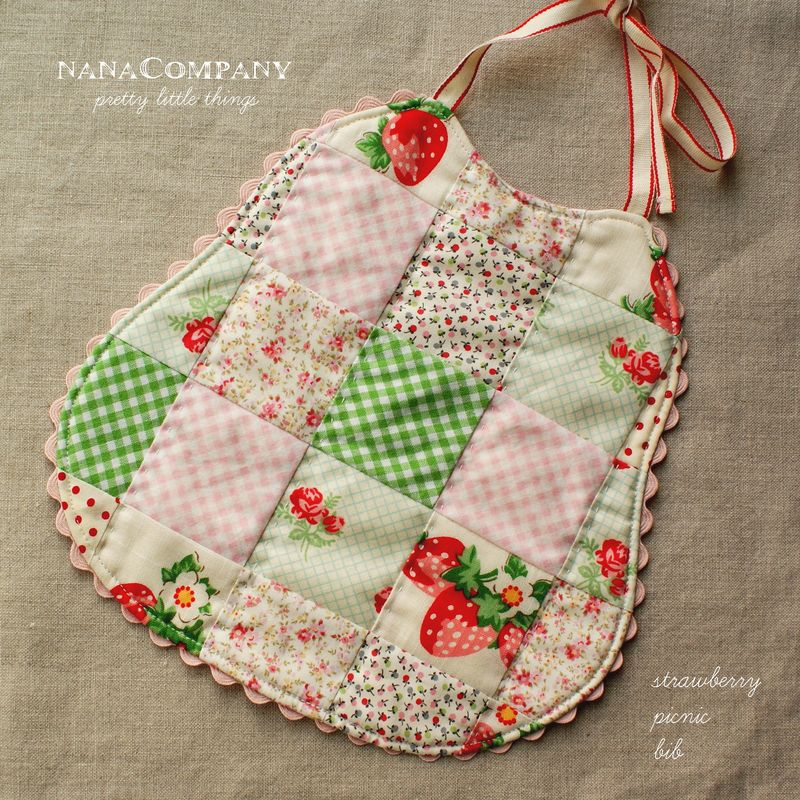 handmade strawberry patchwork baby bib
