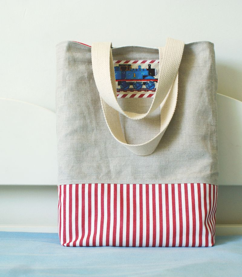 handmade linen Thomas the tank engine tote bag