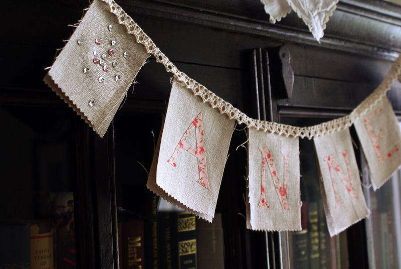 linen and sequin bunting by nanaCompany, A101p