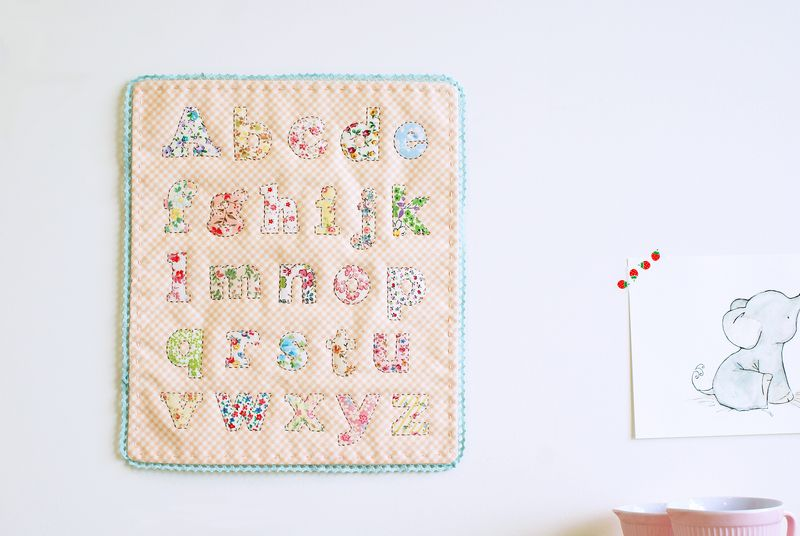 alphabet sampler in fabric