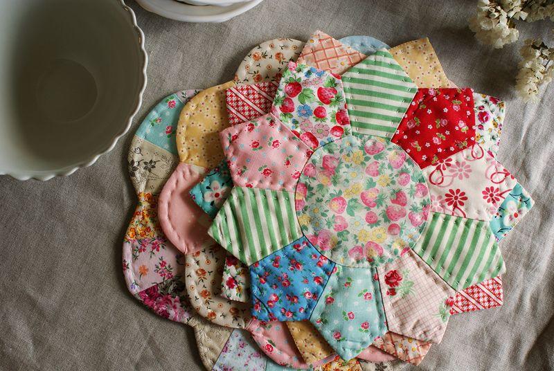pile of handmade dresden plate trivets by nanaCompany,