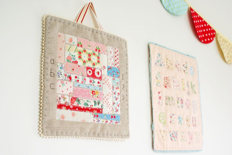 embroidered fabric scrap + linen mini quilt by nanaCompany