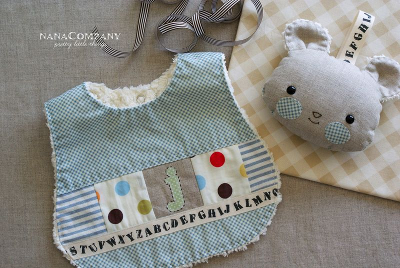handmade baby boy bib and softy rattle, by nanaCompany, J121pt1