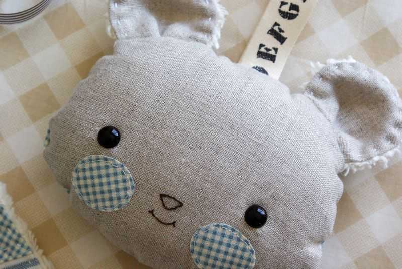 baby softy rattle in linen, by nanaCompany