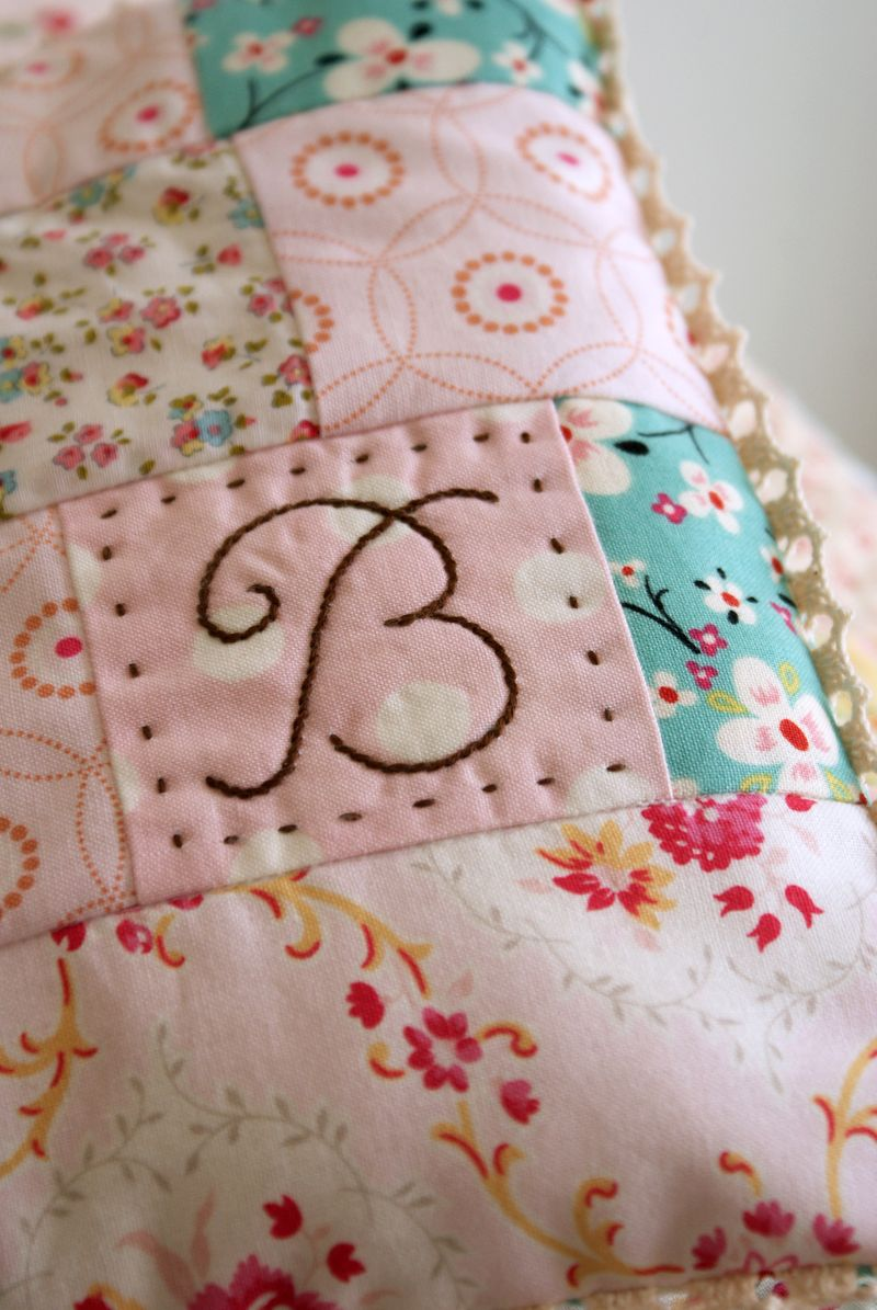 "embroidered monogram ""B"", handmade pillow by nanaCompany, B113pp"