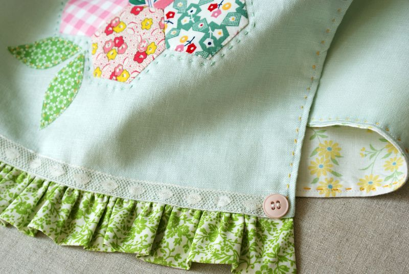 handmade linen tea towel with hexagon flower by nanaCompany, T237pp