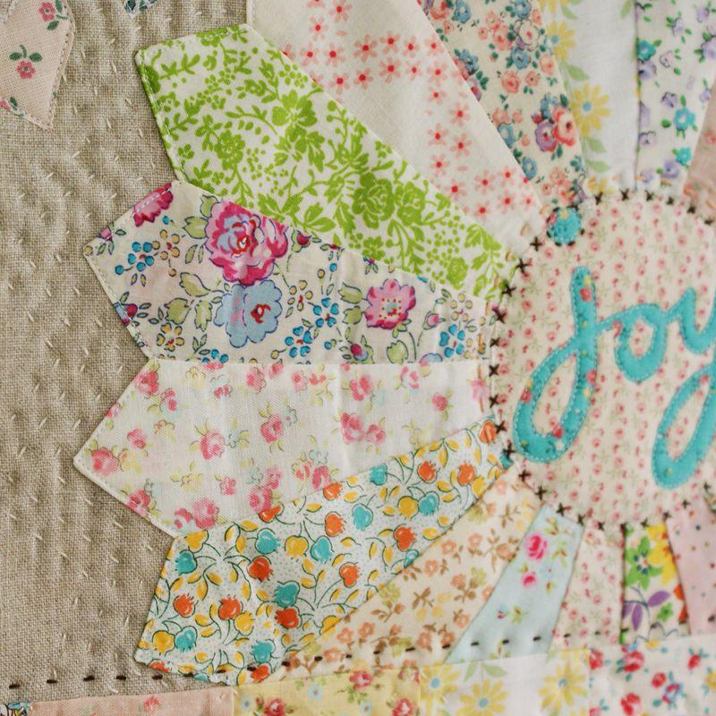 nanaCompany mini quilt wall hanging, hand stitches