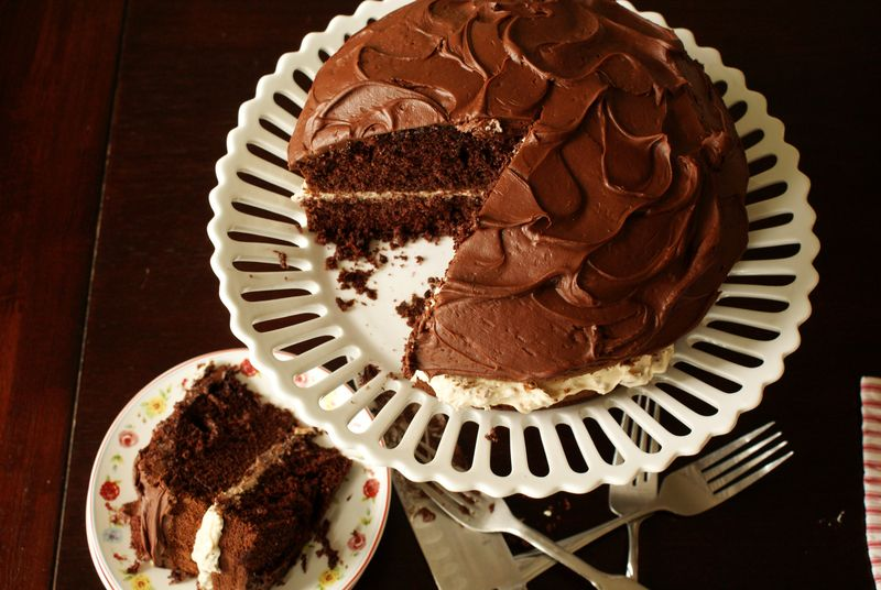 nanaCompany chocolate cake with toffee candy filling