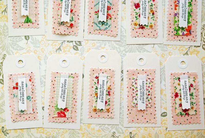 nanaCompany fabric + paper hang tags, T114p1