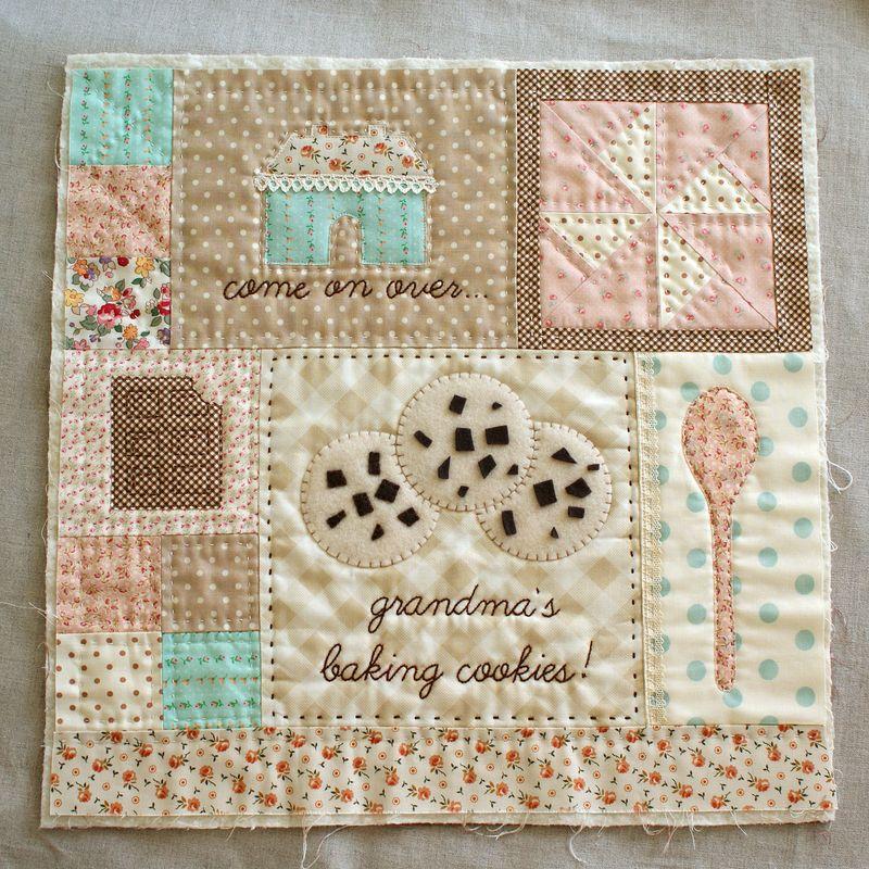 handmade, appliqued, embroidered mini doll quilt, cushion, Grandma's Cookies by nanaCompany,