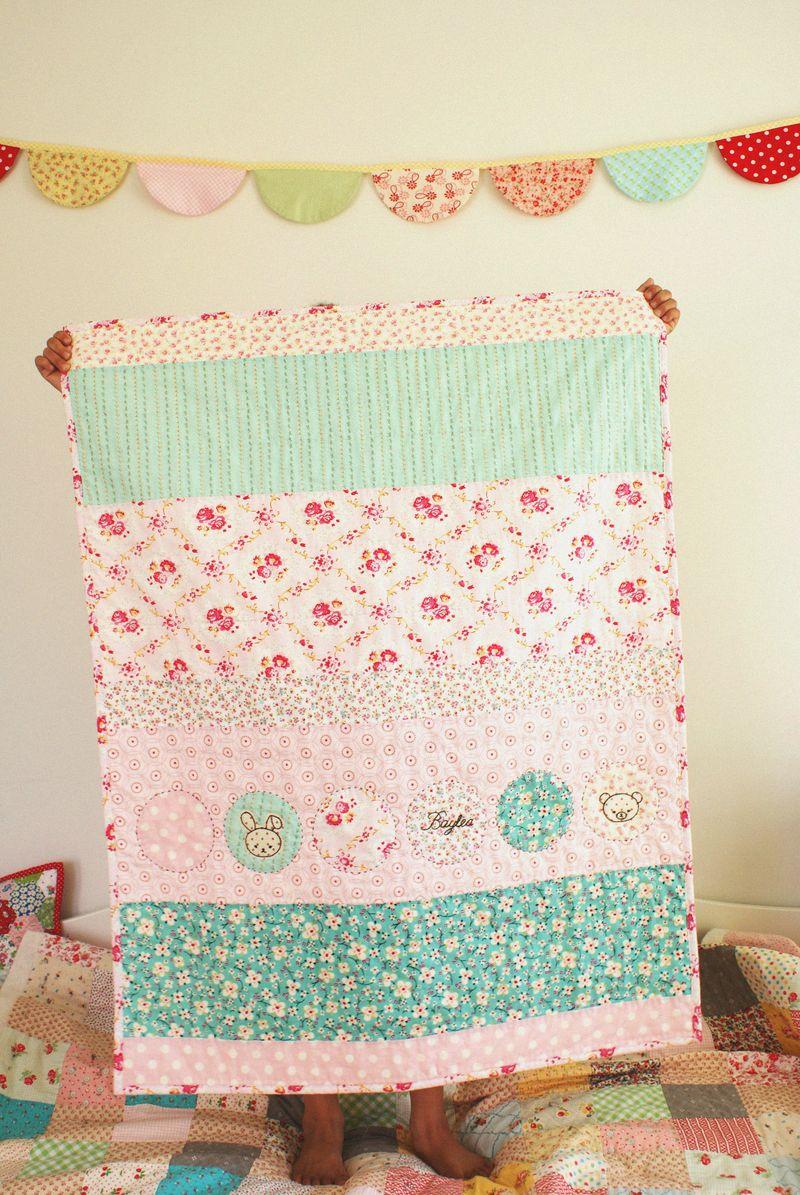 baby girl quilt, handmade by nanaCompany, B022n