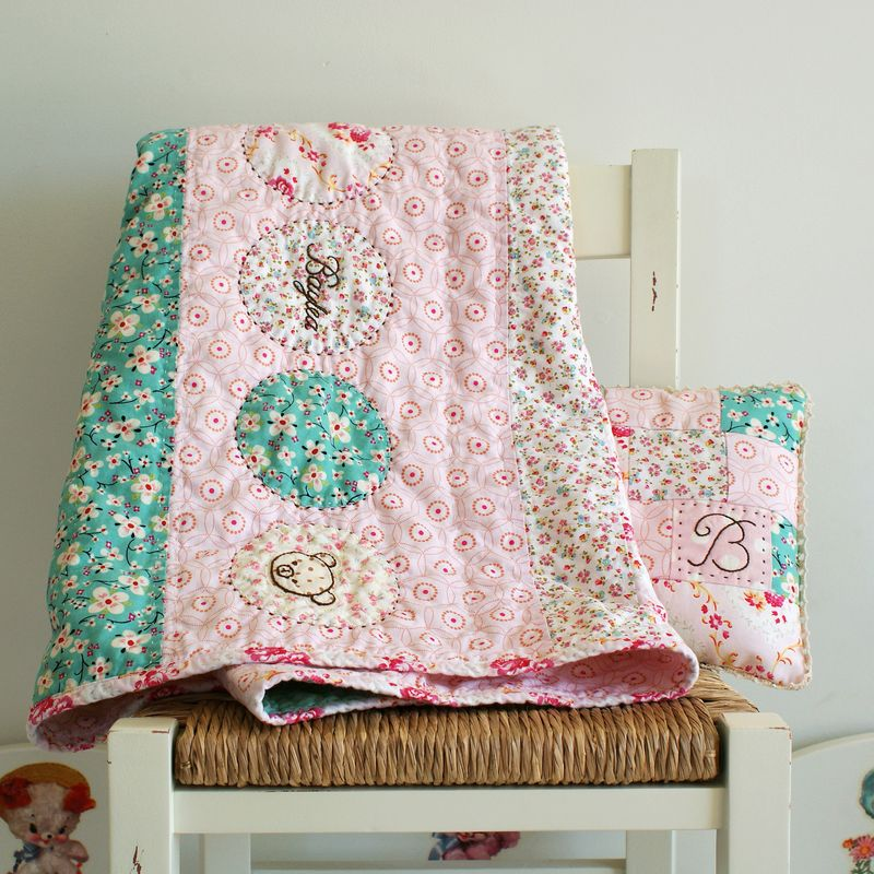 embroidered baby girl quilt by nanaCompany, B098p