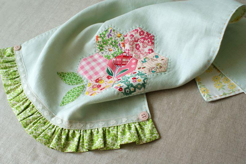 handmade linen tea towel with hexagon flower by nanaCompany, T220p