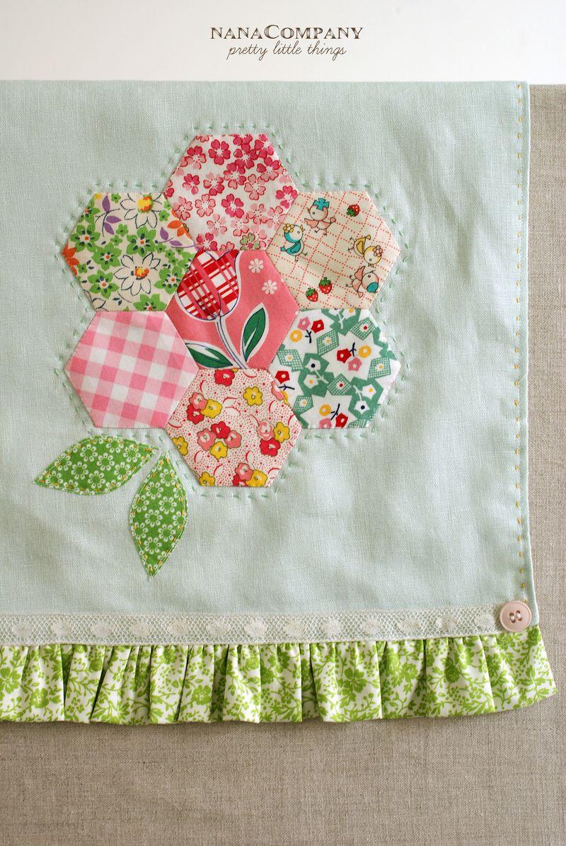 handmade linen tea towel with hexagon flower by nanaCompany, T205ppt