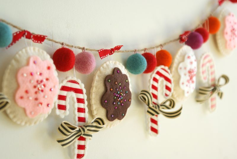 christmas holiday cookie candy cane garland, G056