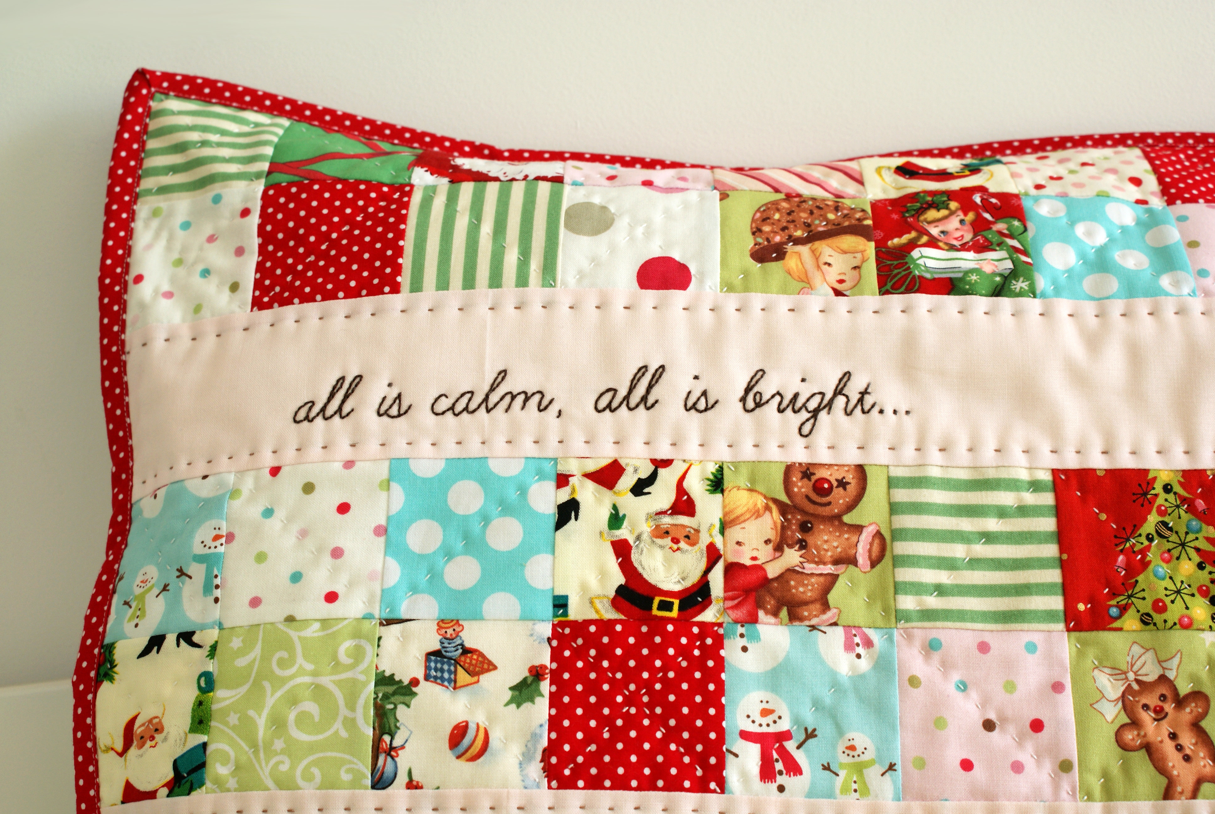Diy Patchwork Pillow Case: Christmas patchwork pillow   nanaCompany,