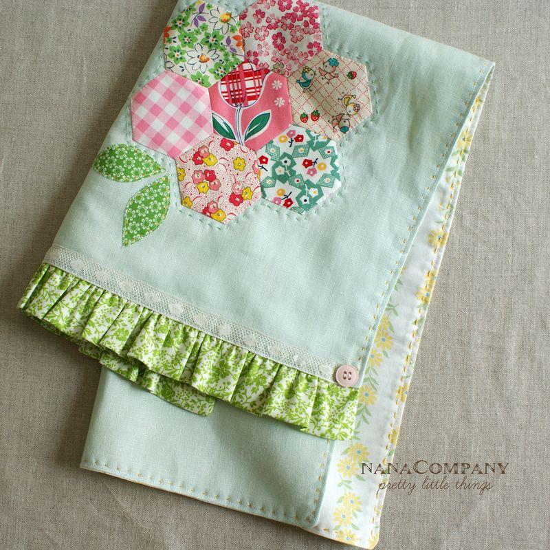 handmade linen tea towel with hexagon flower by nanaCompany, T169pt