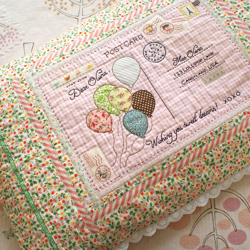 handmade embroidered postcard pillow by nanaCompany, P113tpppp