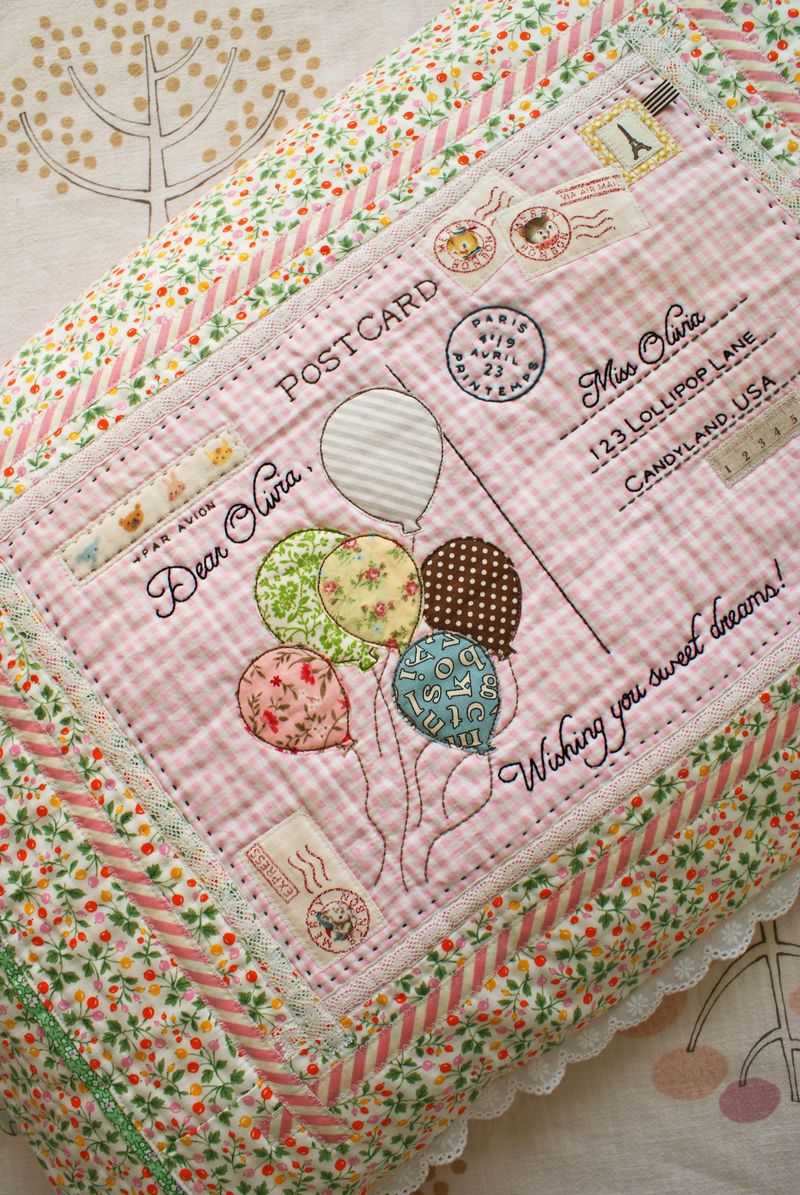 handmade embroidered postcard pillow by nanaCompany, P116pp