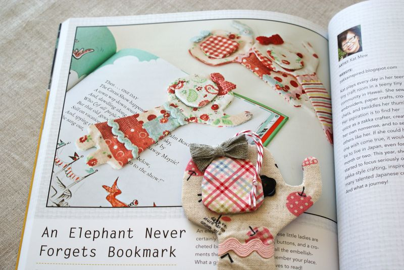 elephant bookmark from Zakka Style by C&T Publishing, Z052p