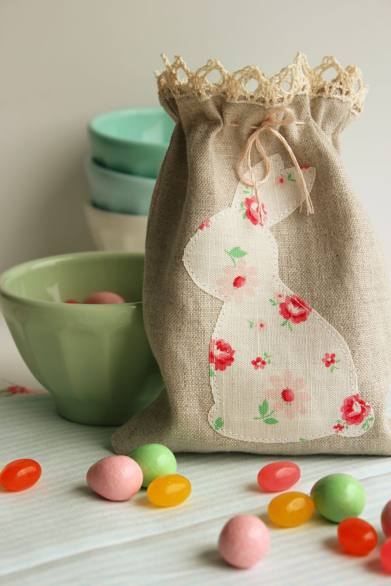handmade linen bunny sack, B_1268p