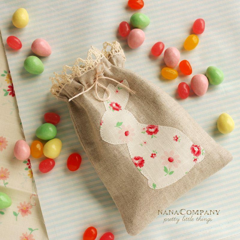 handmade linen bunny easter bag, B_1175pt