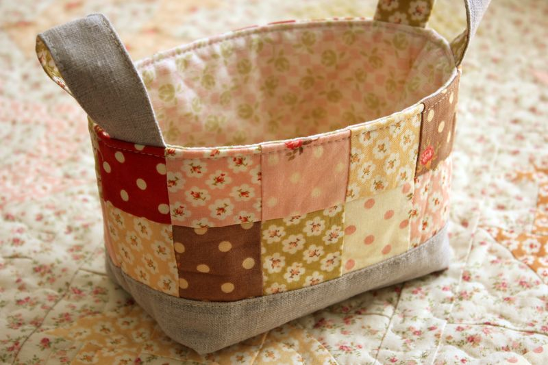Patisserie Fig Tree Quilts handmade basket and quilt, E_1409