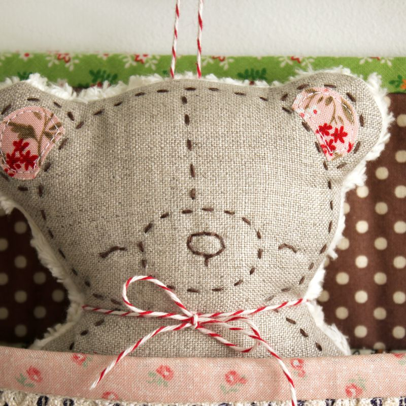embroidered linen bear softie handmade by nanaCompany B_2277pp