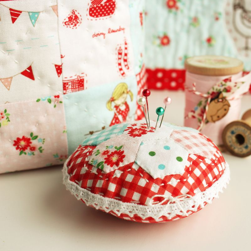 "hexagon pin cushion made with ""The Simple Life"" fabric"