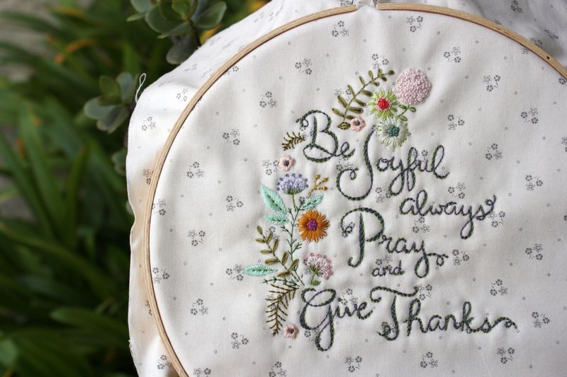 """be joyful"" embroidery in progress by nanaCompany"