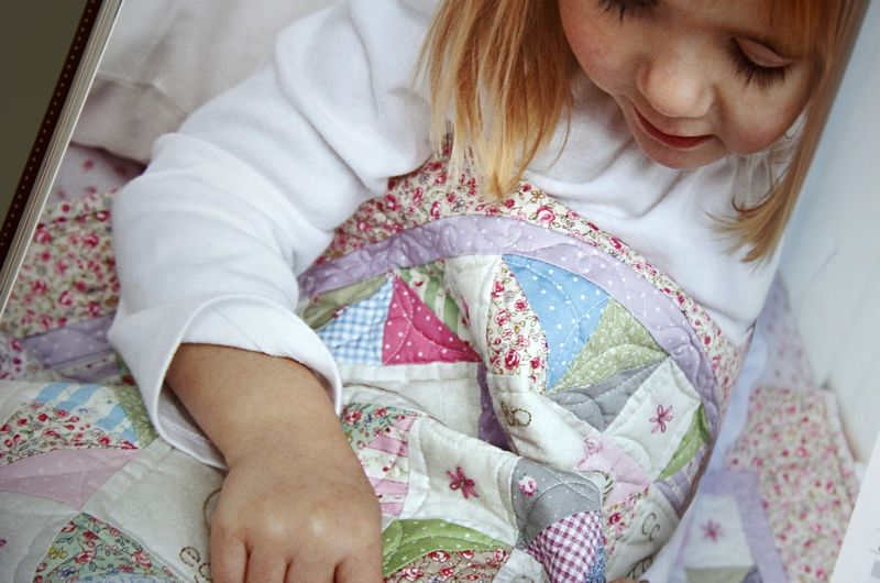"""girl's alphabet quilt in """"S is for Stitch"""""""