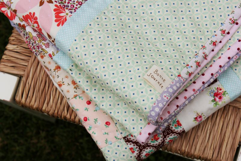 Mint and Sorbet quilt, folded... by nanaCompany