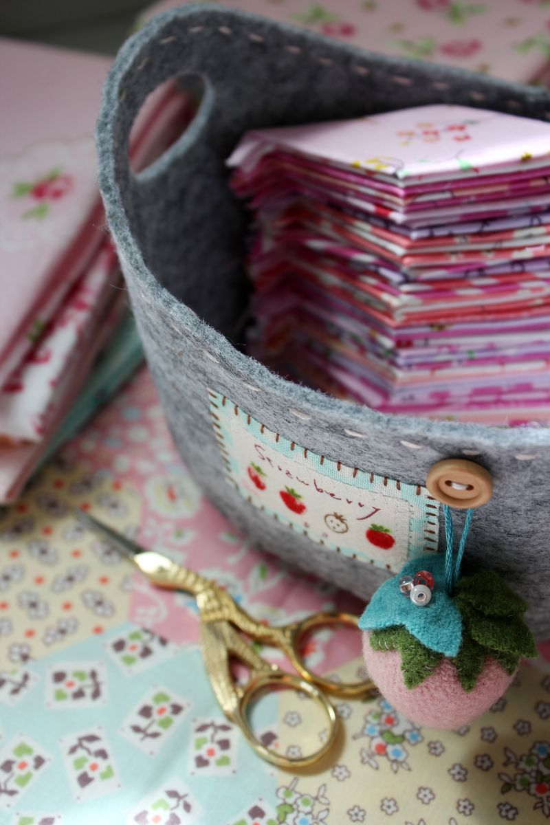 strawberry patch sewing basket with pin cushion... nanaCompany