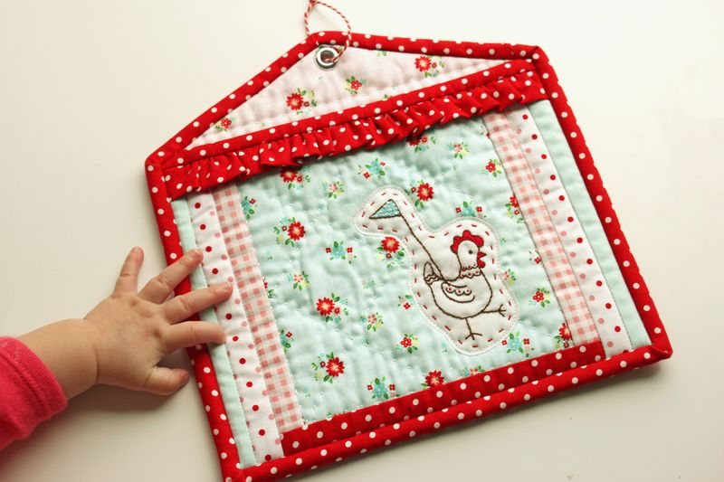 "hen house potholder by nanaCompany, using ""The Simple Life"" fabric line by Tasha Horsley for Riley Blake"