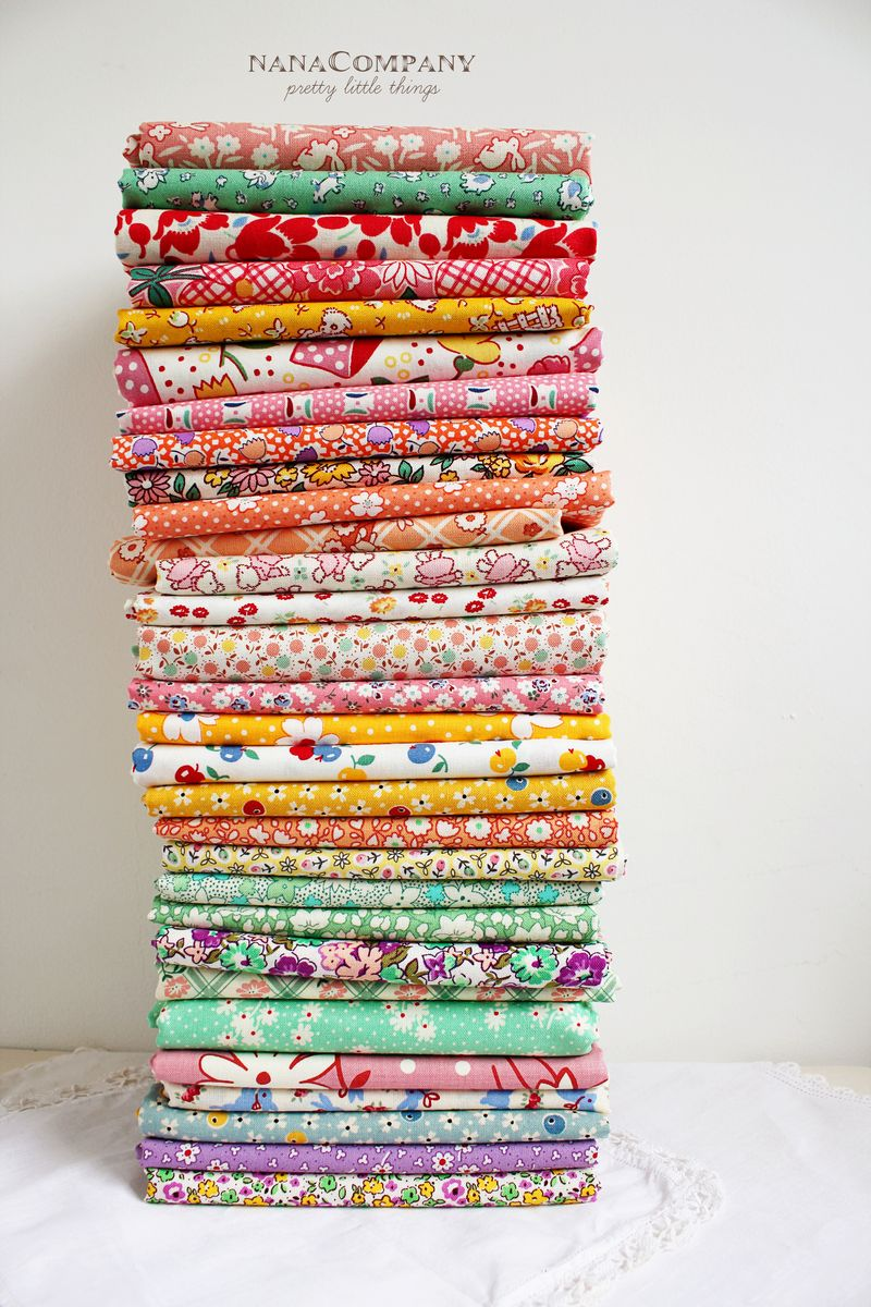 tall stack of 30's reproduction prints from Quiltin' Gals