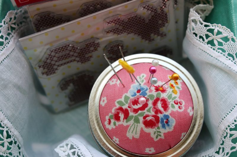 cross stitch stamps and my new canning jar pin cushion, by nanaCompany