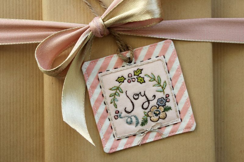 "handmade embroidered ""Joy"" tag by nanaCompany, J_2683"