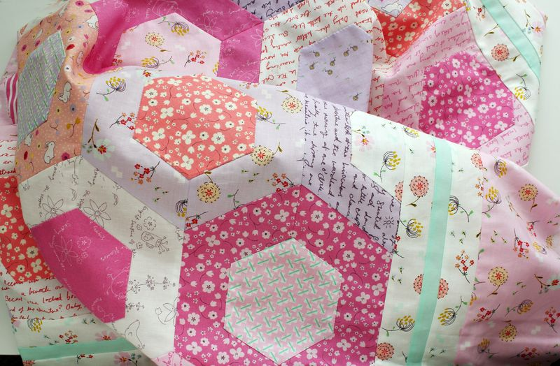 Posy Honeycomb quilt top by nanaCompany