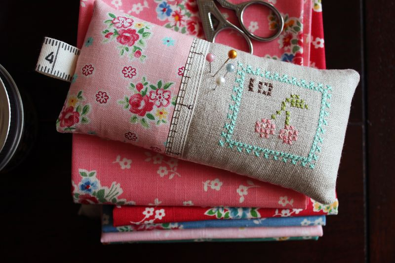 cherry cross stitch pin cushion by nanaCompany