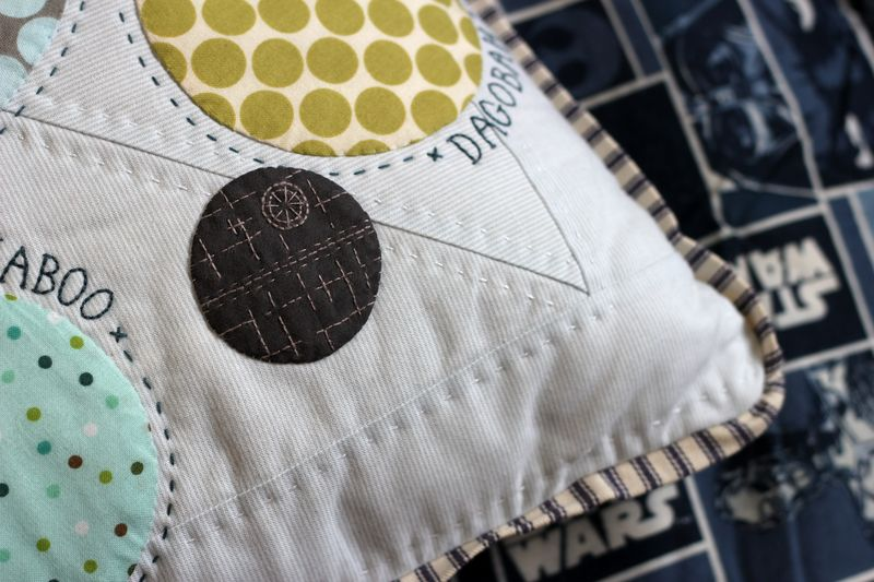 embroidered Death Star on the planets of Star Wars pillow