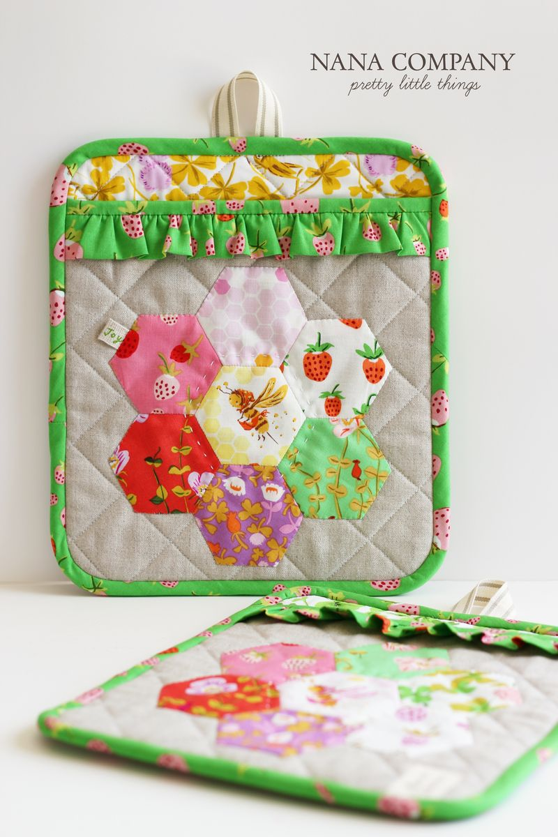linen + briar rose by Heather Ross potholders