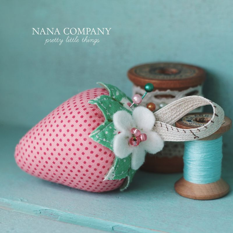 pink polka dot strawberry pincushion by nanaCompany
