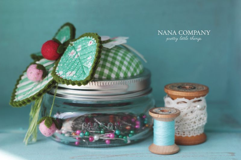 mason jar pincushion with wee strawberries, by nanaCompany