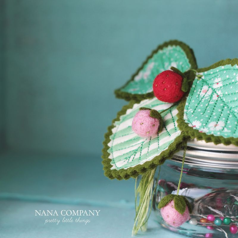 wee pale strawberry pincushion by nanaCompany