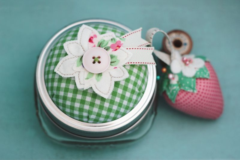 mason jar pin cushion, half dressed